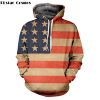 PLstar Cosmos 2017 Autumn Pullovers 3D Print Hoodies Men American Flag Sweatshirt With Hood Couples Streetwear