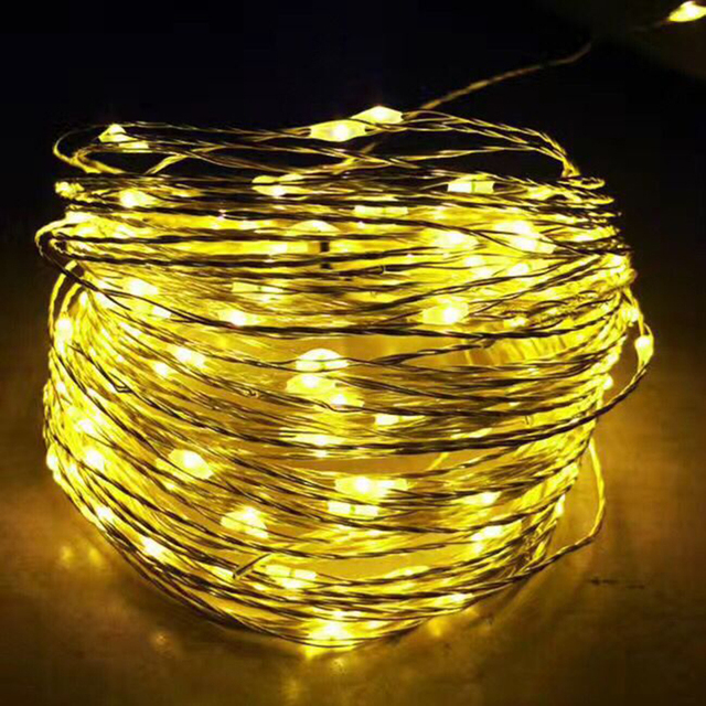christmas lights 10m 33ft 100 led copper wire string light 3aa battery powered wedding christmas holiday