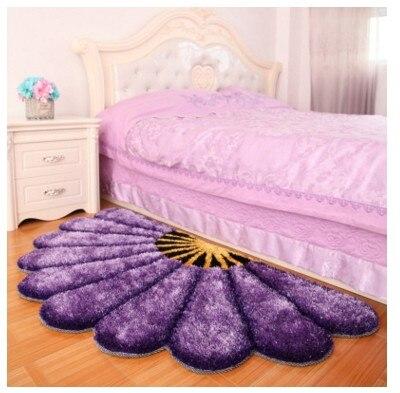 80X150 см утолщенные секторные ковры для спальни, современные 3D коврики с изображением цветов и ковров, диван-пол, детский игровой коврик, половик с цветочным рисунком - Цвет: Фиолетовый