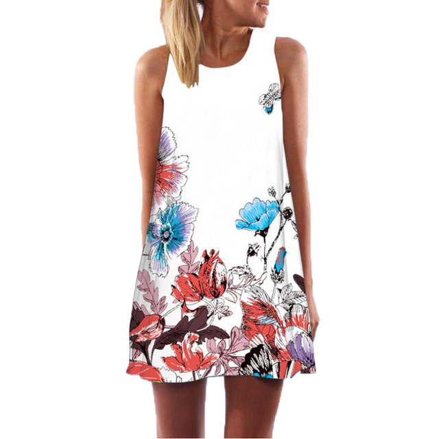 Dress Women Floral Print Chiffon Dress Sleeveless 2