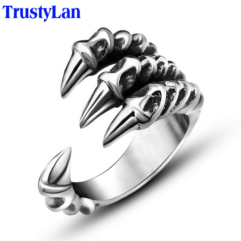 TrustyLan New US Size 7-12 Punk Rock Stainless Steel Mens Biker Rings Vintage Gothic Jewelry Silver Color Dragon Claw Ring Men цена