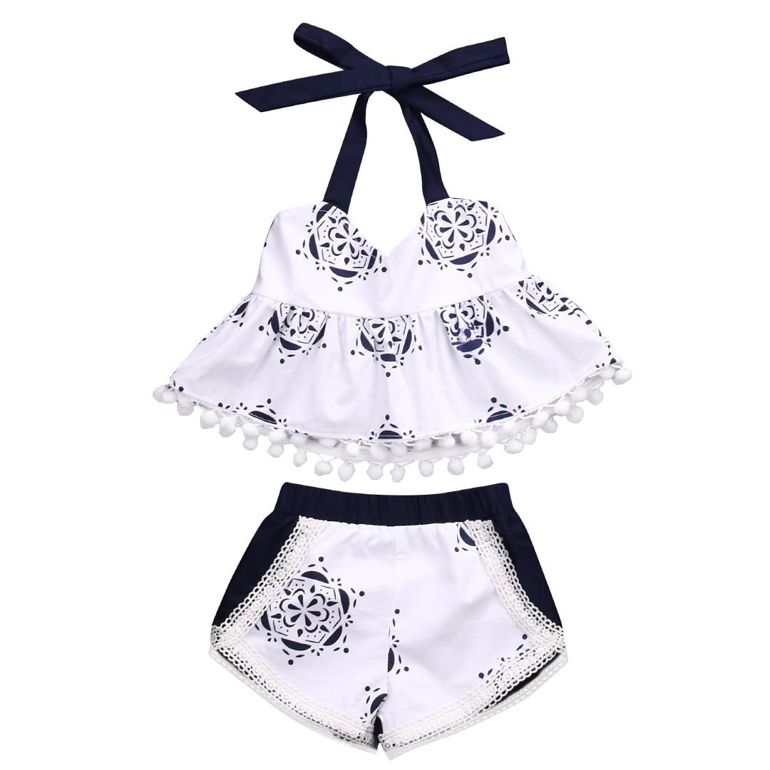 Newborn Baby Girls Clothes Set Tank Tops T-shirt Sleeveless Belt Shorts Infant Cute Clothing Baby Girl 2pcs Outfits