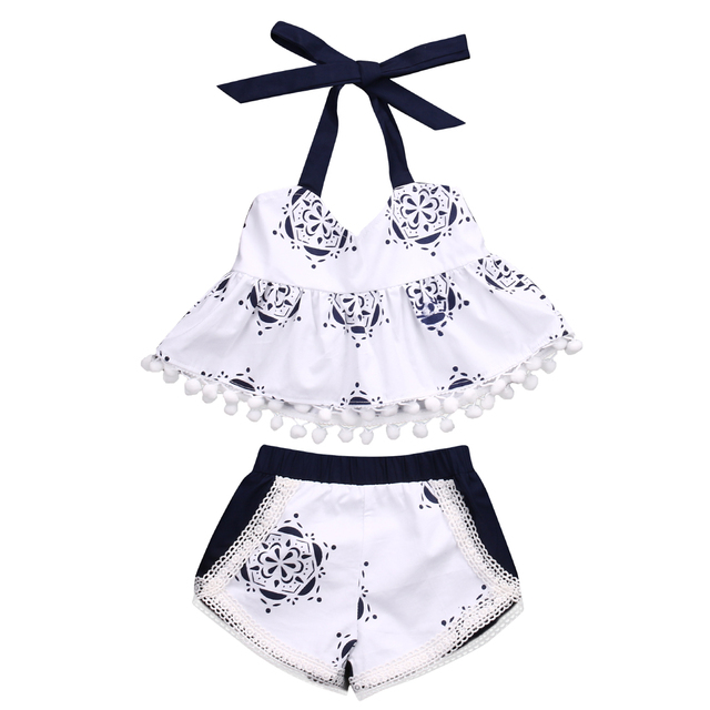 bfd91d3e24f Newborn Baby Girls Clothes Set Tank Tops T-shirt Sleeveless Belt Shorts Infant  Cute Clothing Baby Girl 2pcs Outfits