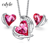 Cdyle Pink Angel Rose Gold Jewelry Set Embellished with crystals from Swarovski Heart Pendant Necklace and Stud Earrings Set