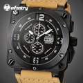 INFANTRY Aviateur Quartz Watches Men 100M Waterproof Genuine Leather Swim Sports Watches Multi-function Luminous Army Stop Watch