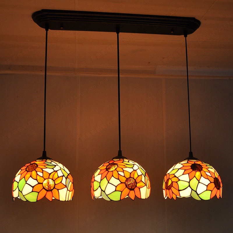 3 sunflowers United Nordic pastoral antique chandelier Tiffany stained  glass restaurant bar windows and modern lighting - High Quality Antique Tiffany Chandelier-Buy Cheap Antique Tiffany