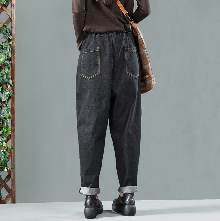 Herbst Winter Jeans Retro Frauen Elastische Taille Denim Hosen Neue Weibliche Dünne-typ Vintage tasche Casual 2018 Denim Hosen