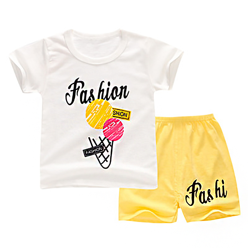 Summer Cotton Kids Clothes Set Cartoon Print Baby Girl Clothes Comfort Casual Boys T-shirt Breathable Soft Shorts + T-shirt 2pcs