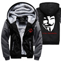 2017 new V for Vendetta sweatshirt men harajuku fleece casual hoodies winter thicken zipper brand tracksuits hip-hop kpop jacket