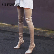 Sexy Women Over Knee High Boots Warm Winter Shoes Stretch Elastic High Heels Boot Woman New Pointed Toe Plus Size Ladies Shoe DE цена