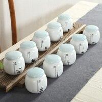 Tea Ceremony Mini Ceramic Tea Storage Box Jar 8x8cm Container Box Spice Jar Small Household Ceramic