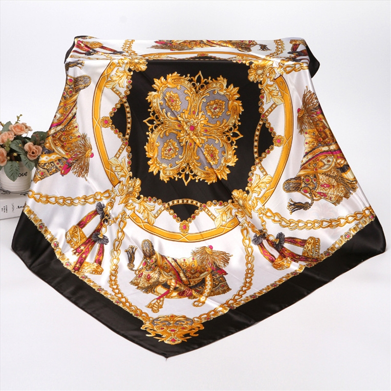 90X90 CM Fashion Styles Lady Square Scarves Soft Silk Shawls Printing Flowers 16 Colors Summer Head Neckerchief 92002