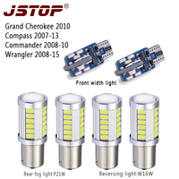 JSTOP 6pcs/set Compass Wrangler Grand Comander led Reverse bulbs car 12V led t10 w5w width lights 1156 P21W 6000k Rear fog lamps