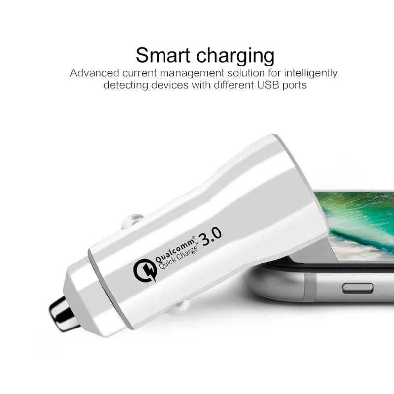 Cargador de cigarrillo de coche USB QC3.0 puertos duales 5 V/3.1A encendedor de coche 12 V/24 V QC 3,0 adaptador cargador de coche usb qualcomm carga rápida 3,0