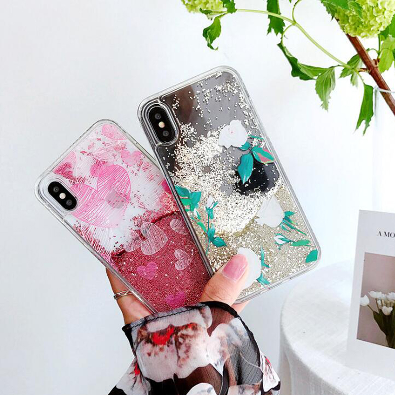 Quicksand Love Flowers Phone Case for iPhone7plus Bling Bling Mobile Shell for iphone X/8/6/6s