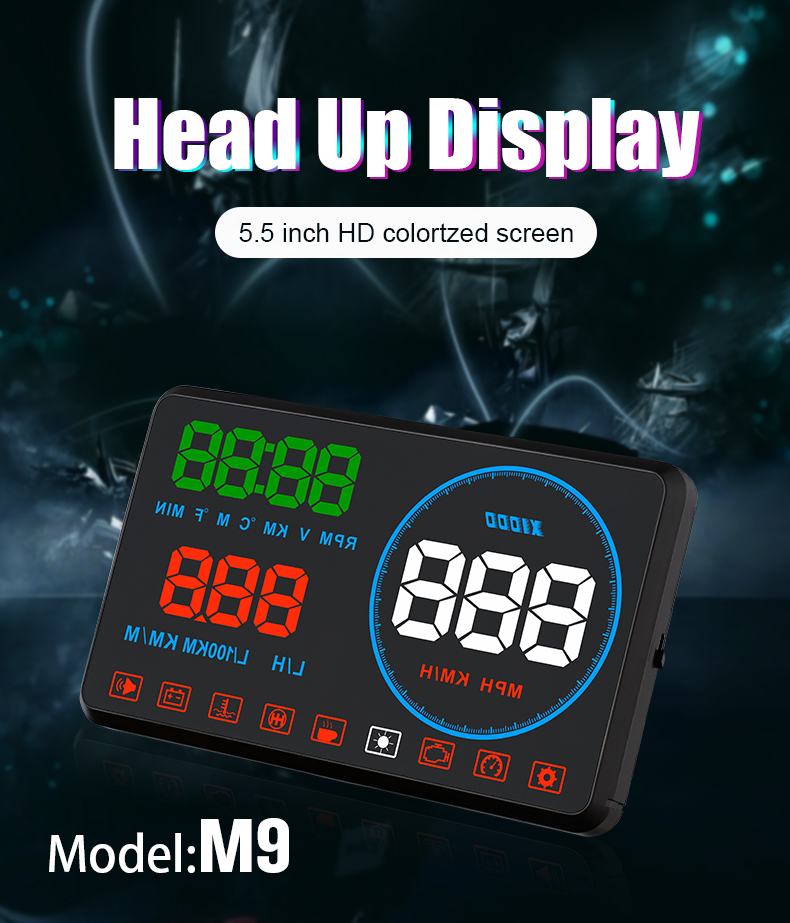 Image 3 - GEYIREN M9 HUD Display Car 5.5 Inch Windscreen Projector OBD2 EUOBD Car Driving Data Display Speed RPM Fuel Consumption 2018 New-in Head-up Display from Automobiles & Motorcycles