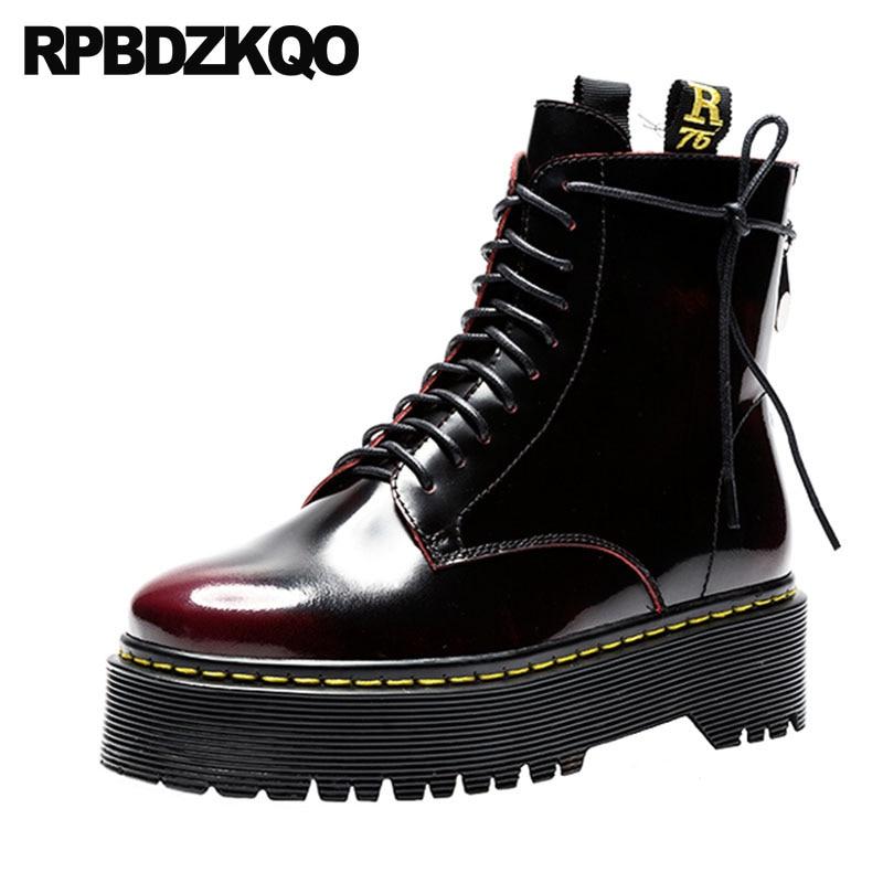6849b08b Detalle Comentarios Preguntas sobre Botines de combate de cuero genuino  botas con cremallera laterales plataforma Retro militar plano vino rojo  zapatos con ...