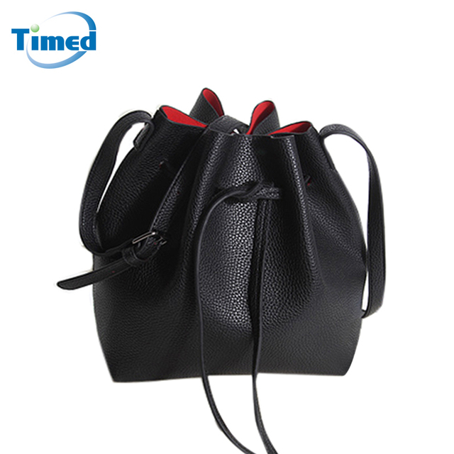 Black Drawstrings Bucket Bags For Women 2017 New High Quality PU Leather Messenger Bag Fashion Lady Shoulder Crossbody Handbags