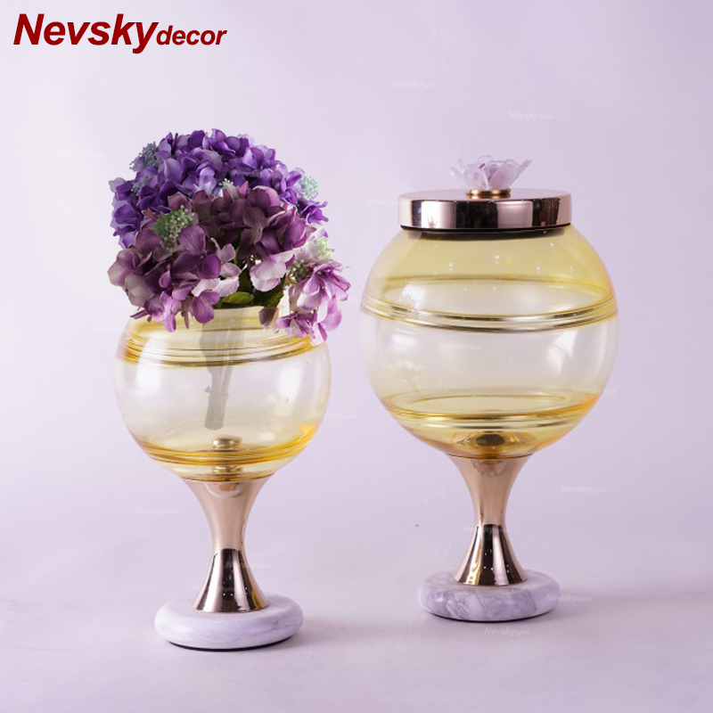 Glass candy pots decoration home decor black marble base for flower tabletop vase modern terrarium glass candle pots dining room