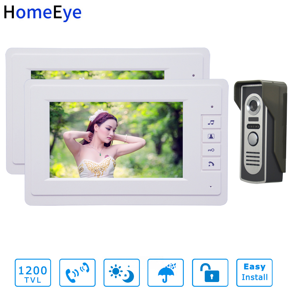 7inch Video Door Phone Video Intercom System White Color Monitor + 1200TVL Waterproof Outdoor Call Button Home Access Control