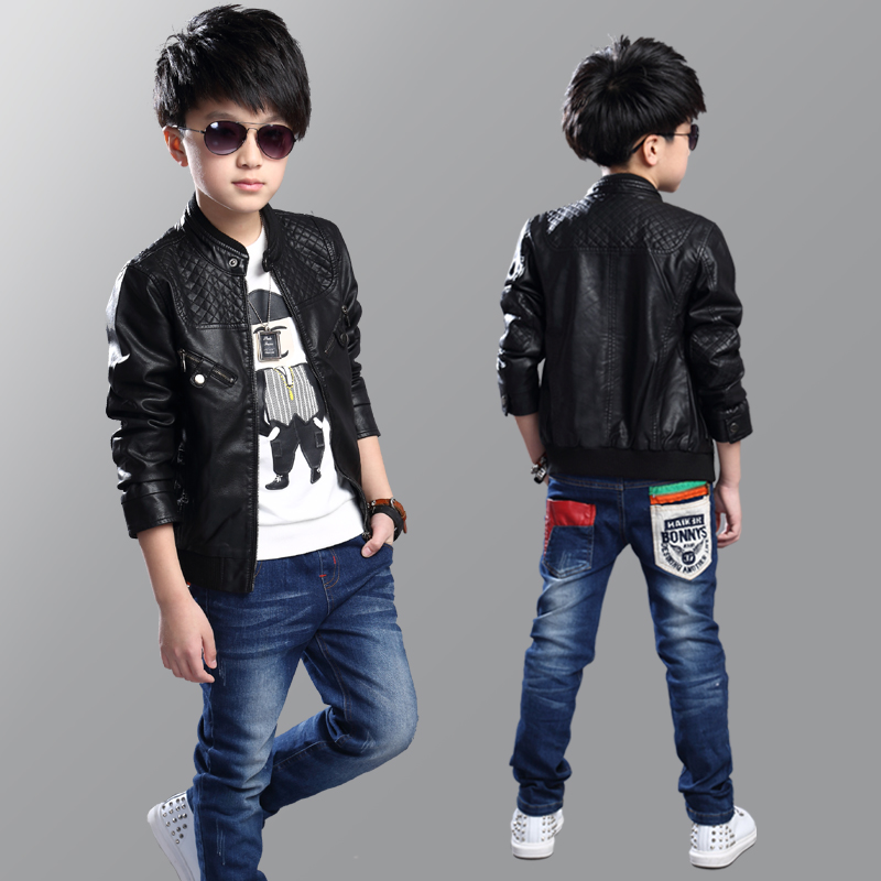 ФОТО New Kids Jackets Kids PU Leather Jacket for Boys Spring &Autumn boy's outerwear