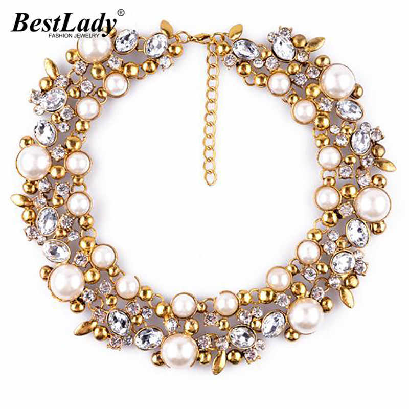 Best lady New Good Quality za Brand Simulated Pearl Statement Luxury Vintage Necklace Women Collar Choker Jewlry Gifts 9593