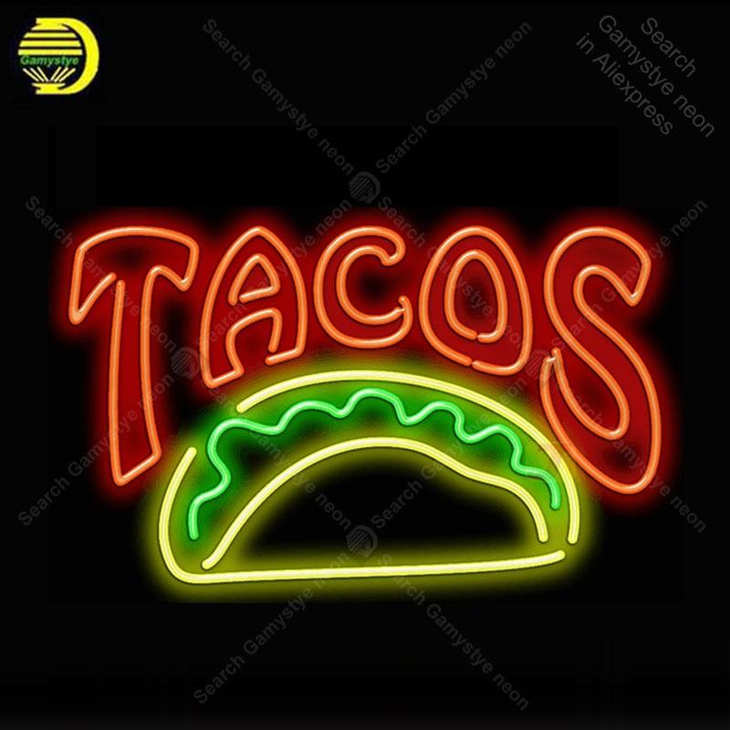 Grand Tacos néon lumière signe verre Tube néon ampoule signe décor mur nourriture magasin café néon panneau enseigne lampe anuncio luminoso Atarii