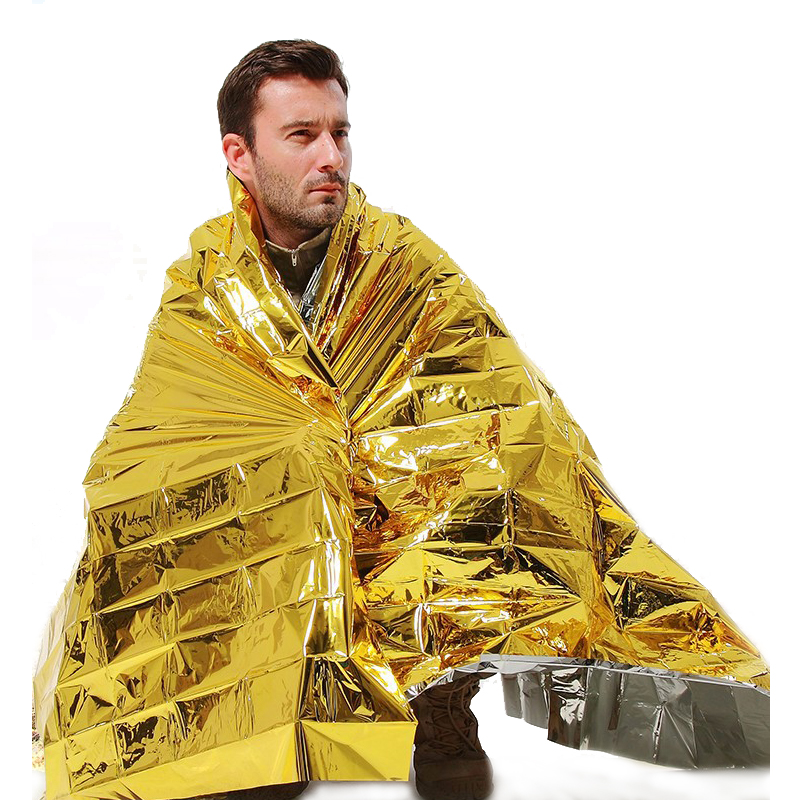210 * 160CM Emergency Blanket 1Pcs Survival Rescue Curtain Outdoor Livreddende Vanntett Space Foil Thermal