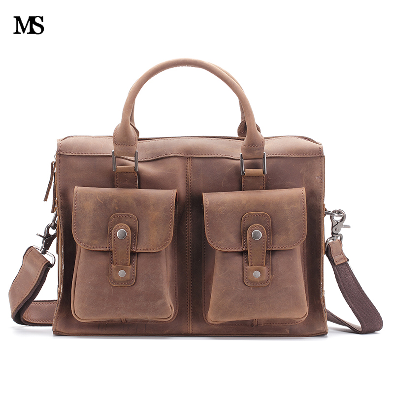 ZLON New Sale Men Crazy Horse Genuine Leather Vintage Single Laptop Briefcase Messenger Shoulder Attache Tote 14 Bag T110