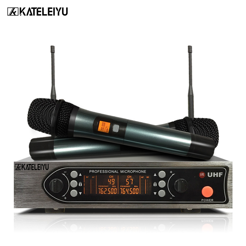 Professional UHF Wireless Microphone System Dual Handheld Microphone With Receiver For Karaoke KTV Conference Singing oupushi conference system 8 channel gooseneck uhf ppl wireless conference table microphone sound quality ceiling speaker