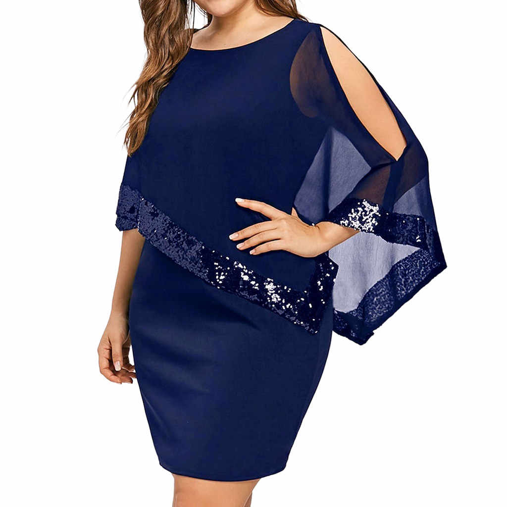 Women Plus Size Chiffon Dresses Cold Shoulder Overlay Asymmetric Mini Dress Solid Colors High Waist Bodycon Vestidos Female Girl