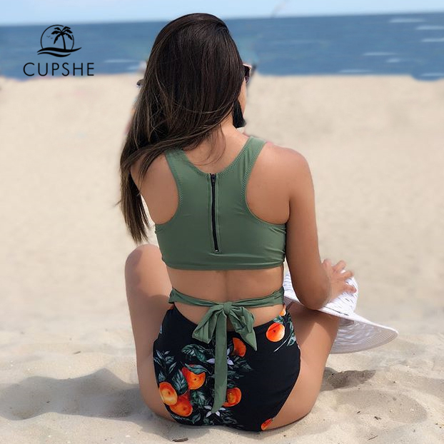 CUPSHE Green Miss U Print One-piece Swimsuit Women Tied Bow Cutout Tank Monokini 2020 Girl Beach Bathing Suit Swimwear 4