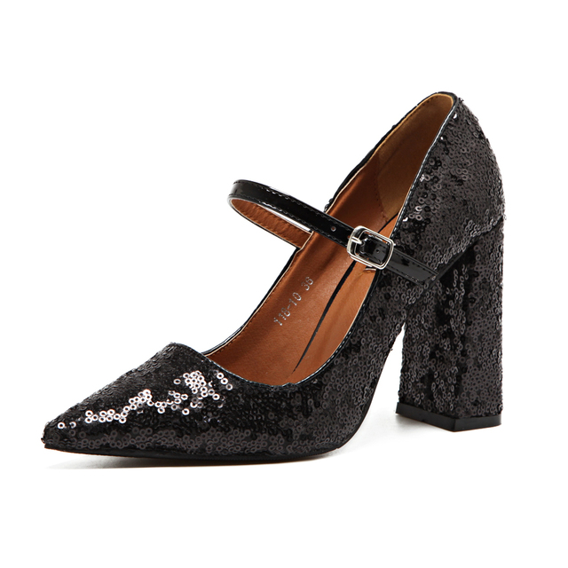 New Pointed Toe BlingBling Shiny Sequined Mary Jane Pumps Block Chunky High Heel Women Shoes Black Woman Priness Classic Shoes