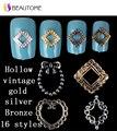 5 Unids Moda Oro Plata Aleación en Forma de Corazón Coattail Hueco Retro Patch Nail Art Decoraciones Consejos Sticker Espárragos DIY