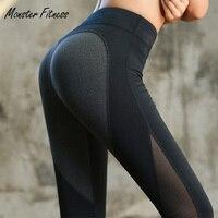 Monstre 2018 Femmes de Yoga Pantalon Coeur Forme Sport Leggings Femmes Hight Taille Maille Sexy Fitness Top Qualité Noir De Yoga pantalon