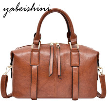 women's Solid color Bowling bag leather tote Large capacity shoulder  PU bags sac a main luxury handbags women bags designer New