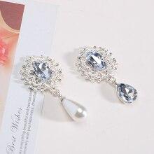 10PCS 45X23mm pearl rhinestone button brooch embellishment flat back BTN-5738