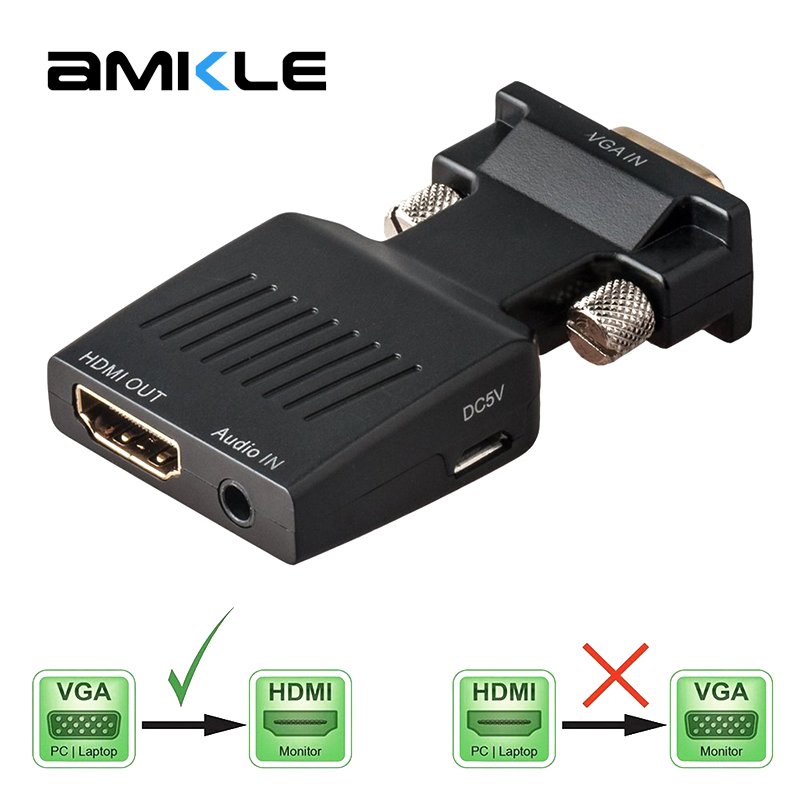 Amkle VGA to HDMI Adapter Converter VGA Male to HDMI Female 1080P Video Converter with Audio Power Cable for PC Laptop Computer hdmi male to vga rgb female hdmi to vga video converter adapter hdmi cable 1080p hdtv monitor for pc