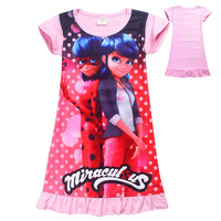 Girls Children Miraculous Ladybug Spring Summer Top Cotton Short Sleeves Dress Skirt Halloween Carnival Cosplay Costume