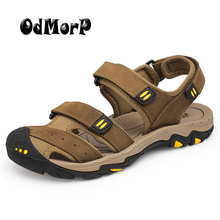 ODMORP Men Sandals High Quality Summer Fashion Leather Beach Sandals Big Size 48 Casual Shoes For Men Slippers Leisure Sandalias