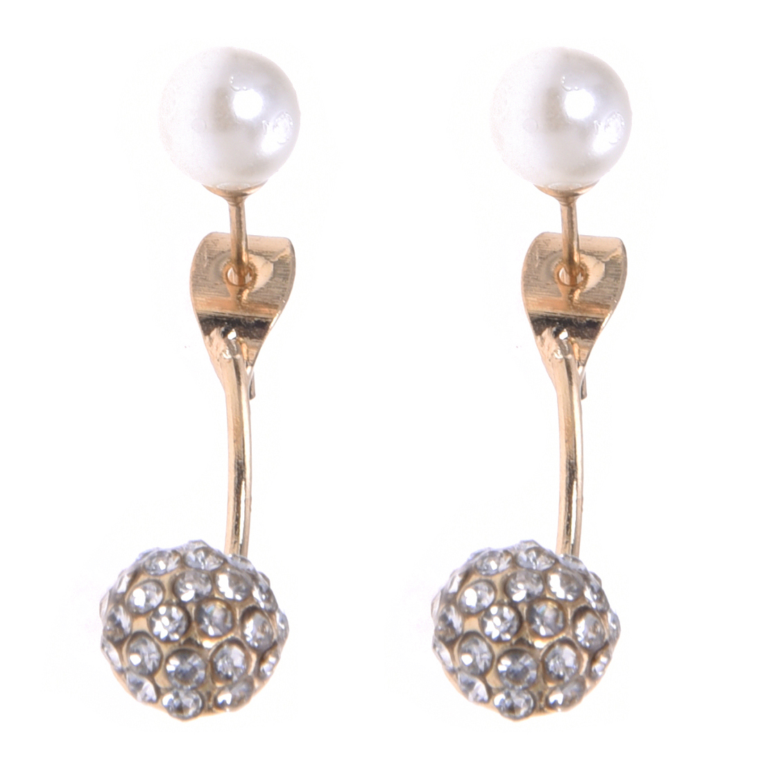 Female suite rhinestone fake pearl front and rear earring stud - gold
