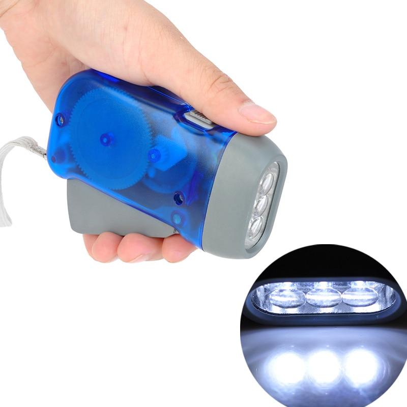 Hand Crank Battery-Free Flashlight Camping Lights 3 LEDs Hand Pressing Flashlight Manual Generator Traveling Torch Light #
