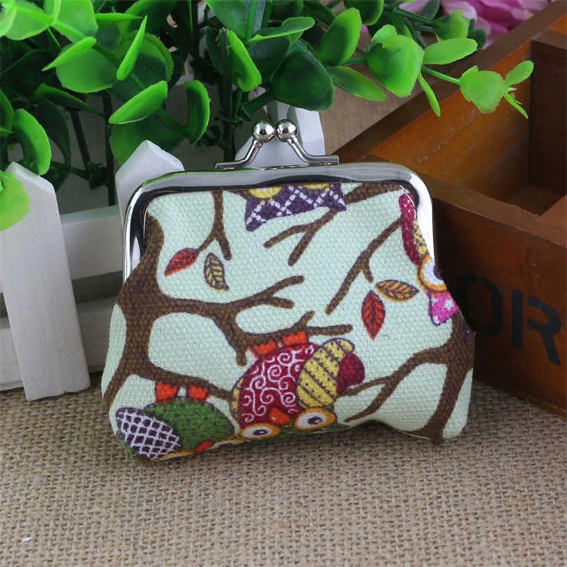 Aelicy Baykuş Sevimli Moda Karikatür Cüzdan Tuval bozuk para cüzdanı Mini Fermuar Küçük Cüzdan Debriyaj Anahtarı Tutucu saklama çantası