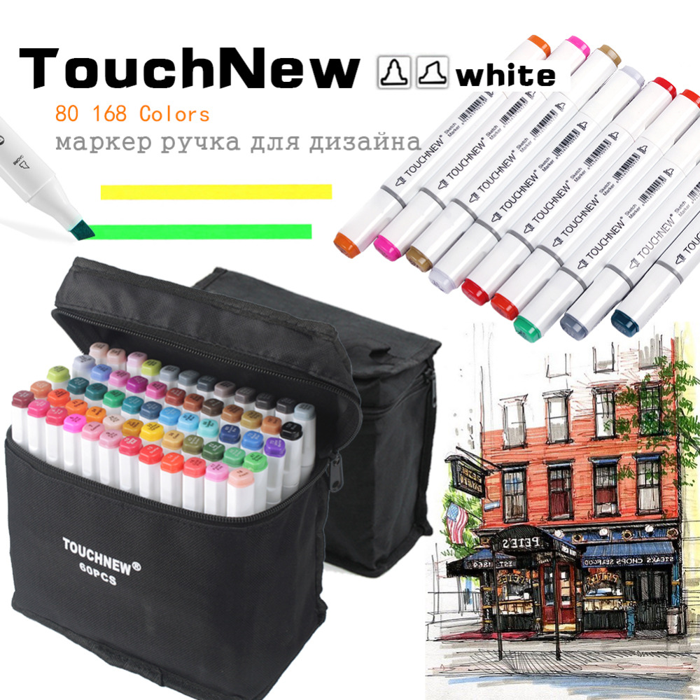 TouchNew 80/168 Colors Dual Tips Permanent Marker Pens Art Markers Highlighter Pen with Carrying Case for Drawing SketchingTouchNew 80/168 Colors Dual Tips Permanent Marker Pens Art Markers Highlighter Pen with Carrying Case for Drawing Sketching