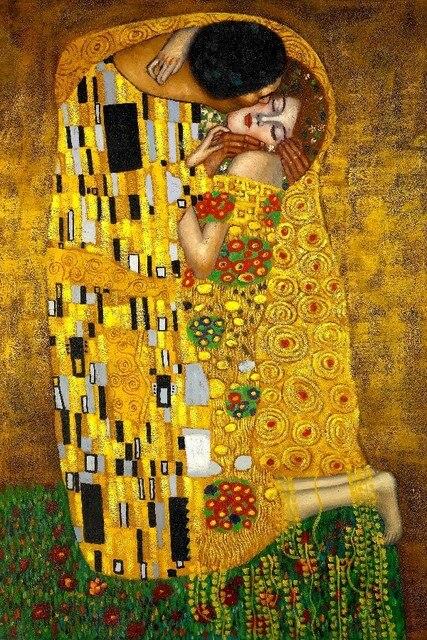 415287d5995 Gustav Klimt The Kiss art painting wall posters canvas print 12x18 ...