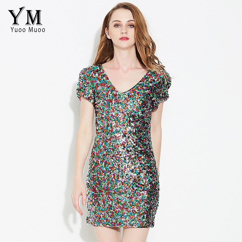 YuooMuoo New Brand Women Summer Fashion Mini Sequin Dress Sexy V-neck Night Club Dress Colorful Women Bodycon Dress