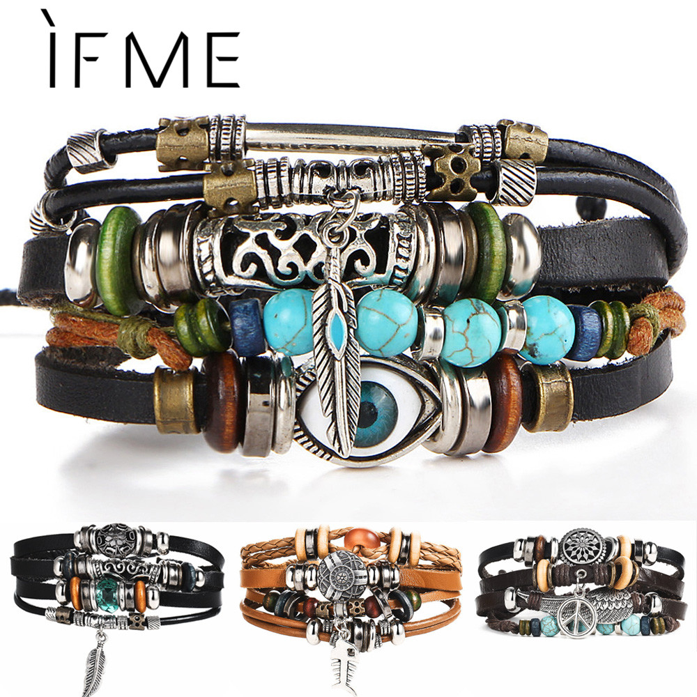 IF ME BOHO Tibet Stone Feather Multilayer Leather Bracelet Eye Fish Charms Beads Bracelets for Men Vintage Punk Wrap Wristband(China)