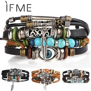 IF ME BOHO Tibet Stone Feather Multilayer Leather Bracelet Eye Fish Charms Beads Bracelets for Men Vintage Punk Wrap Wristband(China)