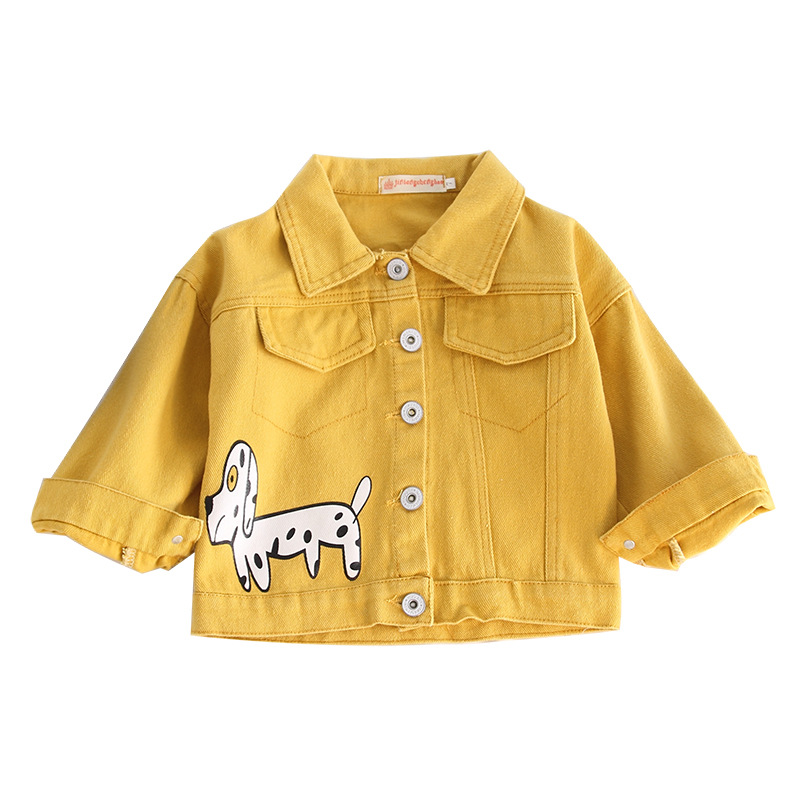 Children's clothing boys and girls short jacket cartoon puppy printing tooling jacket casual long-sleeved short denim jacket 2018 new cartoon boys clothing sets 2pcs denim jacket