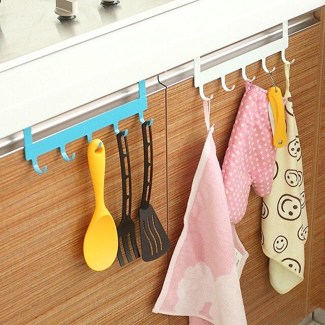 5 Hooks incognito free nail hanging rack iron over door rack Cabinet Cupboard Door hanger organizer home decor